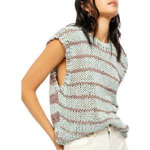 FREE PEOPLE Crochet Knit Tank Top Pullover Sweater